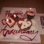 Anniversary suprise from the staff at the Forever Fabulous Flavors Buffet. Thanks all nice touch