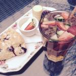 Homemade blueberry scone & Turkish apple ice tea!