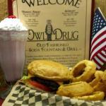 Owl Burger, Strawberry Malt & Homemade Onion Rings!