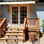 """The deck from the dining room to our """"outdoor room."""""""
