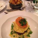 The beef fillet with prawn ravioli & a pea & leek ragout! Amazing flavours!! And the potato....y