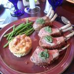 Chile crusted Lamb with garlic bread pudding