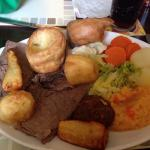 Fab roast - choice of meats, £7.95 all home made (child's portion £5.99)