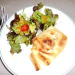 Baked goat cheese in pastry and salad.