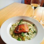 Delicious smoked salmon with asparagus rice