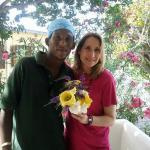 The wonderful gardener that welcomed us with a bouquet!
