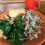 Tofu scramble with buttermilk biscuit and hash browns -- YUM!!!