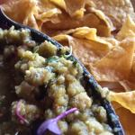 Homemade tomatillo salsa and chips