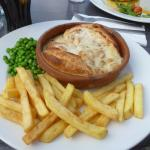 beef pie and chips