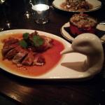 Crispy duck with barley side dish