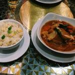Vegetarian Thai curry and sticky rice