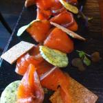 """Home-Smoked"" Salmon with dill butter"
