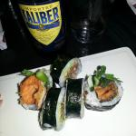 salmon skin maki and kaliber NA beer