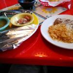 Tacos de Azada with beans & rice