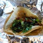 Tacos de Azada with soft corn tortillas.  So yum!