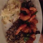 Fried shrimp, rice and potatoes