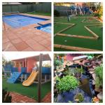 The garden, pool and play area