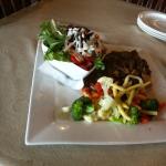 Steak & mushroom pie and salad