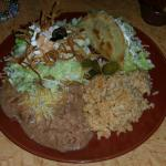 Tostada Special with Fish Taco, rice and beans.