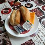 The breakfast: bread, salami, orange jam and (supposedly) cheese