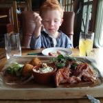 Thomas absolutely loving the food!