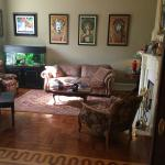 Sitting room, with collectable concert posters
