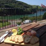 A seafood platter and stunning view, yum yum!