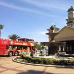 Red Bus stop at the casino and theme park