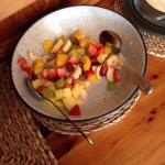 Fresh exotic fruit salad! Wow! Loads of interesting teas!!! And the best veggie cooked breakfast