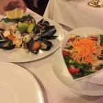 Steam Seafood Salad and Side dish Salad