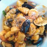 Shrimp, Scallops, Mussels and Clams over Sauteed Brocoli Rabe