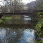 The bridge across Post Creek at Ferenbaugh Campsites, Corning NY