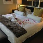 Bed adorned with petals