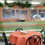 The counters and clean, and show off the great menus on the walls behind.