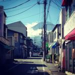 view of Mt. Fuji down the street from the hostel