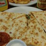 Yummy chicken quesadillas, spicy sandwich, with twisted fries!!!