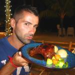 Sebastien about to go face down in 357's delicious specialty - the ribs