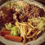 Sunday Munch...baked chicken, macaroni pie, garlic potatoes, peas & rice, tossed salad, coleslaw