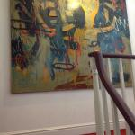 Oriel Milgi Mor dog friendly room as a twin, breakfast and amazing Neale Howells painting on the