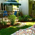 Looking at my friend's quilt in the garden outside one of the rooms.