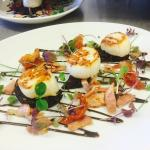 Pan fired scallops, French style black pudding, crispy bacon, sun blushed tomatoes, balsamic gla