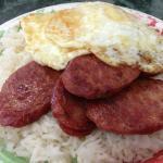 Rainbow breakfast with rice instead of toast.
