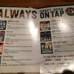 Draft beer menu