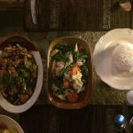 Dinner at the long table  Thai and German potatoes mmmmm