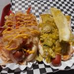 Brat with Rocky Topping & Normal dog with Chicago topping