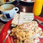 Breakfast - Greek scramble Egg, Fresh OJ & A Dry Capuchins