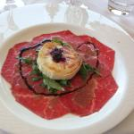 Starter - Carpaccio of Steak with baked goats cheese