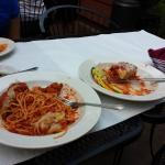 Another wonderful meal.....Nonne's Spaghetti con Polpettes and Lasagna