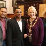 Zak and Rob and mayor Wyn Kydger