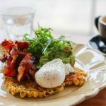 Poach Egg and Bacon on Fried Corn Fritter
